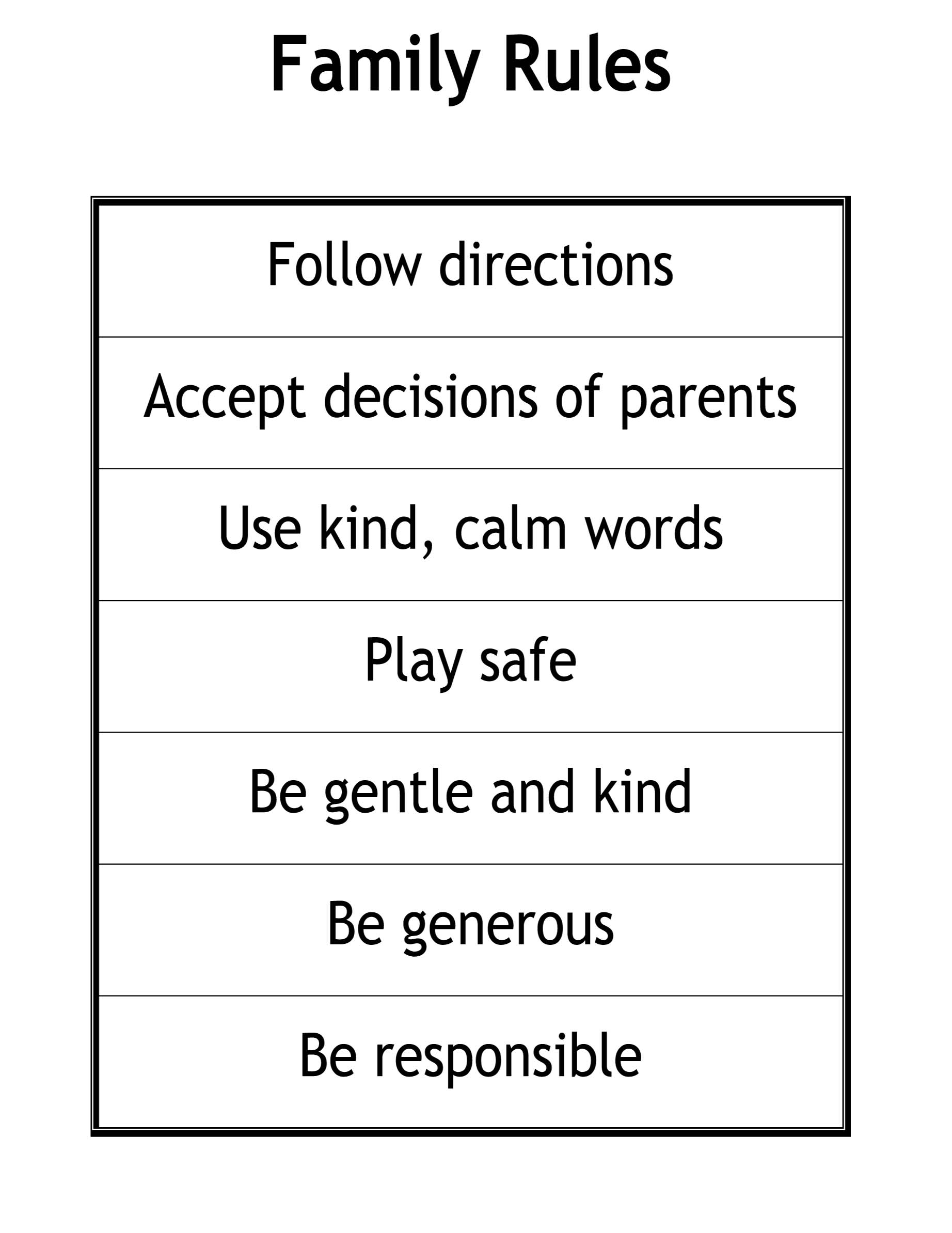 Consequences for breaking family rules bing images for House rules chart template